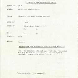 Image for K1719 - Condition and restoration record, circa 1950s-1960s