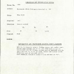 Image for K1708 - Condition and restoration record, circa 1950s-1960s