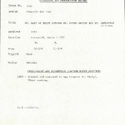 Image for K1724 - Condition and restoration record, circa 1950s-1960s