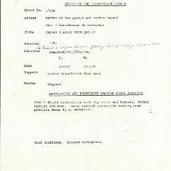Image for K1721B - Condition and restoration record, circa 1950s-1960s