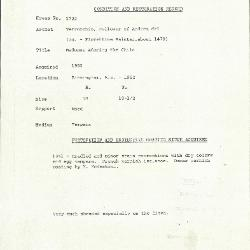 Image for K1722 - Condition and restoration record, circa 1950s-1960s