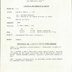 Image for K1715 - Condition and restoration record, circa 1950s-1960s