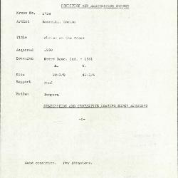 Image for K1734 - Condition and restoration record, circa 1950s-1960s