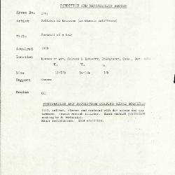 Image for K1751 - Condition and restoration record, circa 1950s-1960s