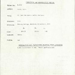 Image for K1738 - Condition and restoration record, circa 1950s-1960s