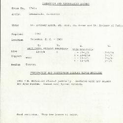 Image for K1743B - Condition and restoration record, circa 1950s-1960s