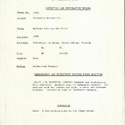 Image for K1753 - Condition and restoration record, circa 1950s-1960s