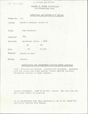 Image for K0174 - Condition and restoration record, circa 1950s-1960s