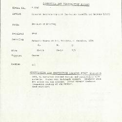 Image for K1740 - Condition and restoration record, circa 1950s-1960s