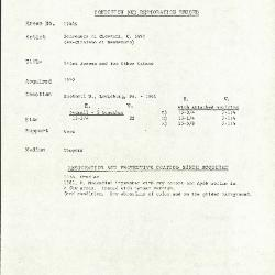 Image for K1744A - Condition and restoration record, circa 1950s-1960s