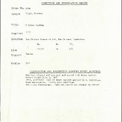 Image for K1739 - Condition and restoration record, circa 1950s-1960s