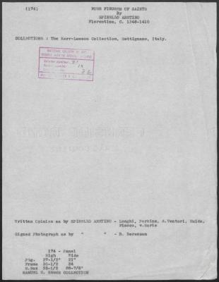 Image for K0174 - Art object record, circa 1930s-1950s