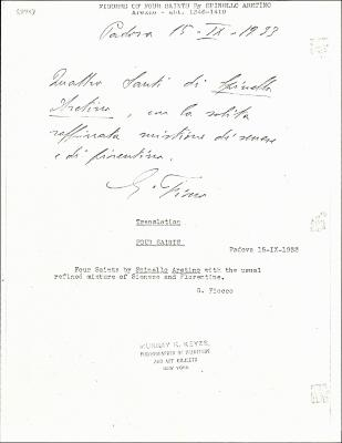 Image for K0174 - Expert opinion by Fiocco, 1933
