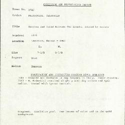 Image for K1742 - Condition and restoration record, circa 1950s-1960s