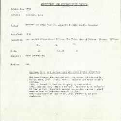 Image for K1772 - Condition and restoration record, circa 1950s-1960s