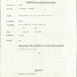 Image for K1778 - Condition and restoration record, circa 1950s-1960s