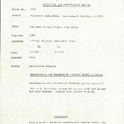 Image for K1763 - Condition and restoration record, circa 1950s-1960s