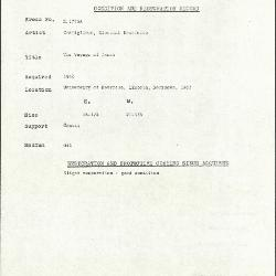 Image for K1775A - Condition and restoration record, circa 1950s-1960s