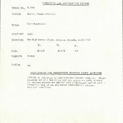 Image for K1785 - Condition and restoration record, circa 1950s-1960s