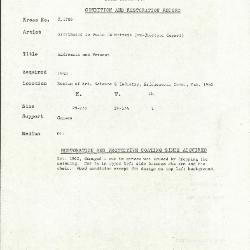 Image for K1786 - Condition and restoration record, circa 1950s-1960s