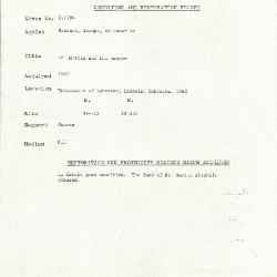 Image for K1794 - Condition and restoration record, circa 1950s-1960s