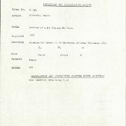 Image for K1784 - Condition and restoration record, circa 1950s-1960s