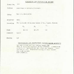 Image for K1800 - Condition and restoration record, circa 1950s-1960s