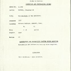 Image for K1782 - Condition and restoration record, circa 1950s-1960s
