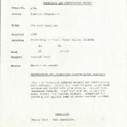 Image for K1796 - Condition and restoration record, circa 1950s-1960s