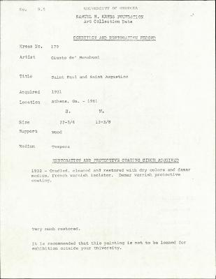 Image for K0179 - Condition and restoration record, circa 1950s-1960s