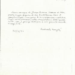Image for K1827 - Expert opinion by Longhi, 1950