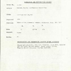 Image for K1818 - Condition and restoration record, circa 1950s-1960s