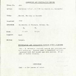 Image for K1834 - Condition and restoration record, circa 1950s-1960s