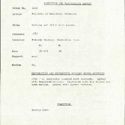 Image for K1829 - Condition and restoration record, circa 1950s-1960s