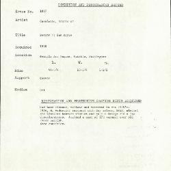 Image for K1807 - Condition and restoration record, circa 1950s-1960s