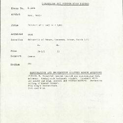 Image for K1844 - Condition and restoration record, circa 1950s-1960s