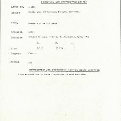 Image for K1809 - Condition and restoration record, circa 1950s-1960s
