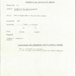 Image for K0182 - Condition and restoration record, circa 1950s-1960s