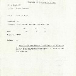 Image for K1820 - Condition and restoration record, circa 1950s-1960s