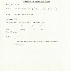 Image for K1824 - Condition and restoration record, circa 1950s-1960s