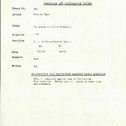 Image for K1821 - Condition and restoration record, circa 1950s-1960s