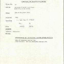 Image for K0181 - Condition and restoration record, circa 1950s-1960s
