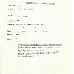 Image for K1903 - Condition and restoration record, circa 1950s-1960s
