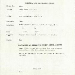 Image for K1874 - Condition and restoration record, circa 1950s-1960s