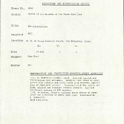 Image for K1861 - Condition and restoration record, circa 1950s-1960s