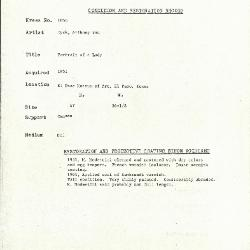 Image for K1858 - Condition and restoration record, circa 1950s-1960s