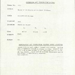 Image for K1863 - Condition and restoration record, circa 1950s-1960s