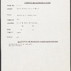 Image for K1852 - Condition and restoration record, circa 1950s-1960s