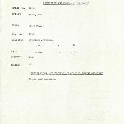 Image for K1886 - Condition and restoration record, circa 1950s-1960s