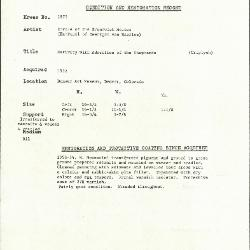 Image for K1875 - Condition and restoration record, circa 1950s-1960s